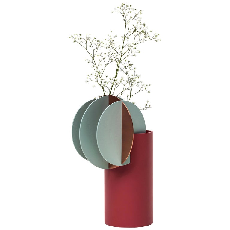 Modern Vase Delaunay CS1 by Noom in Copper and Steel For Sale