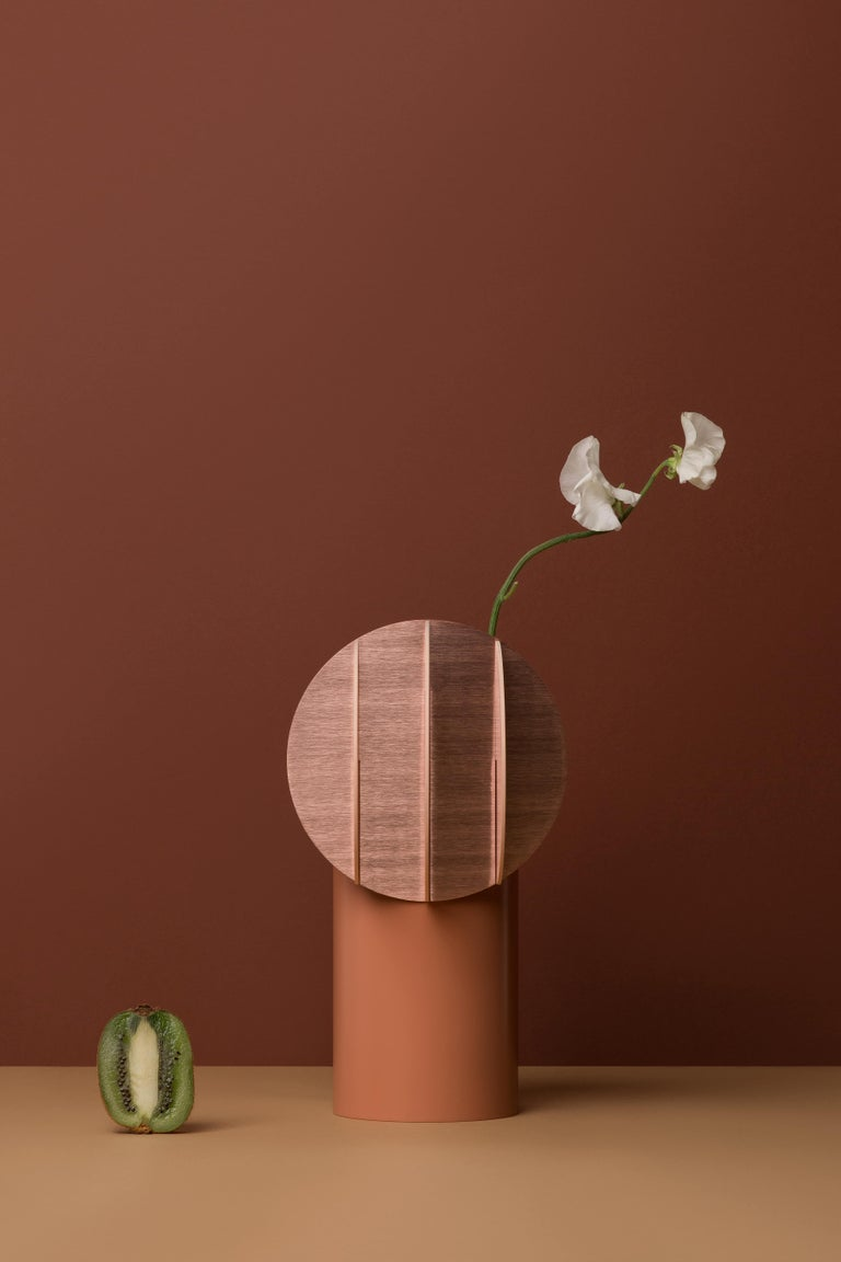 Brushed Modern Vase Delaunay CS7 by Noom in Copper and Steel For Sale