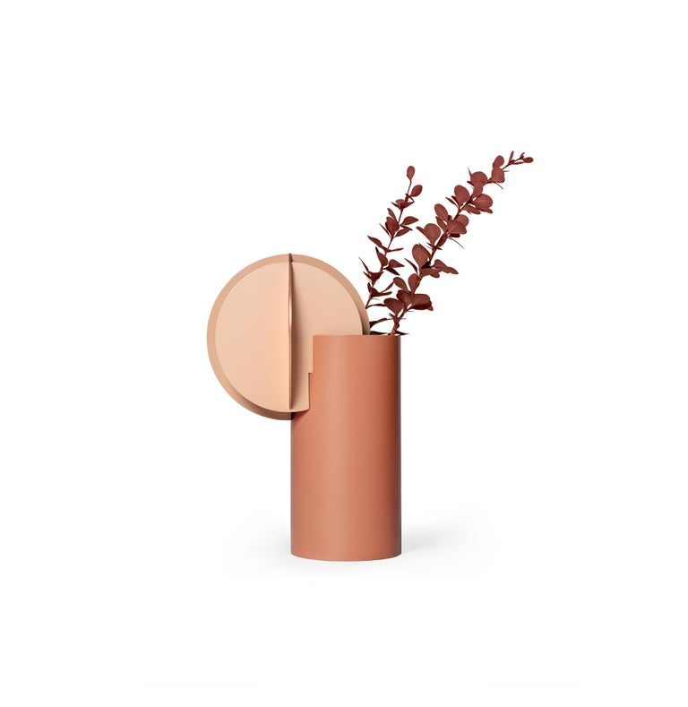 Contemporary Modern Vase Delaunay CS7 by Noom in Copper and Steel For Sale