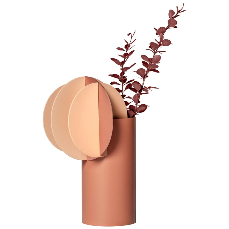 Modern Vase Delaunay CS7 by Noom in Copper and Steel For Sale