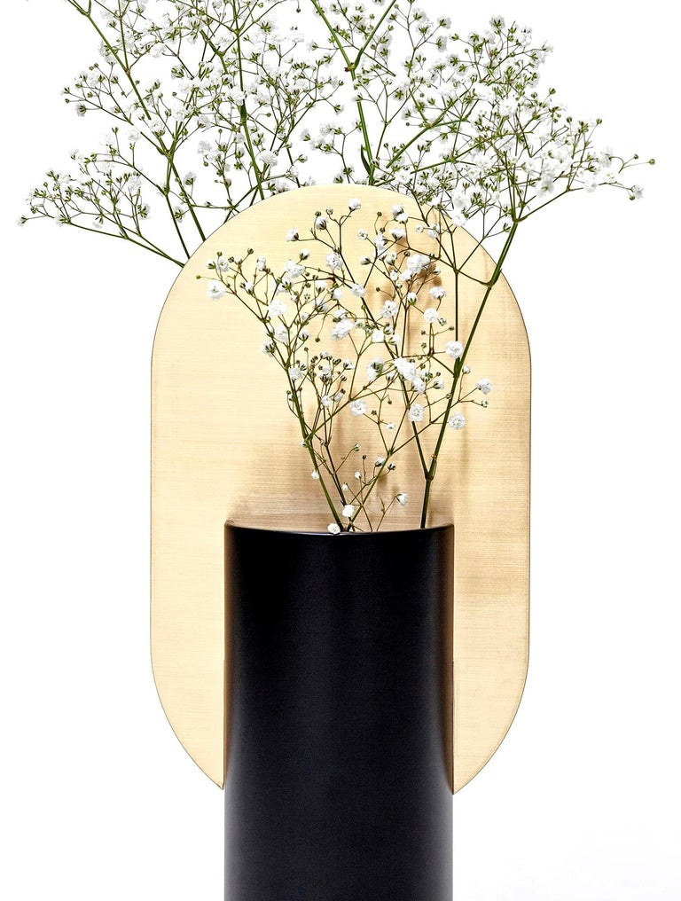 Ukrainian Modern Vase Genke CS1 by Noom in Brass and Steel For Sale