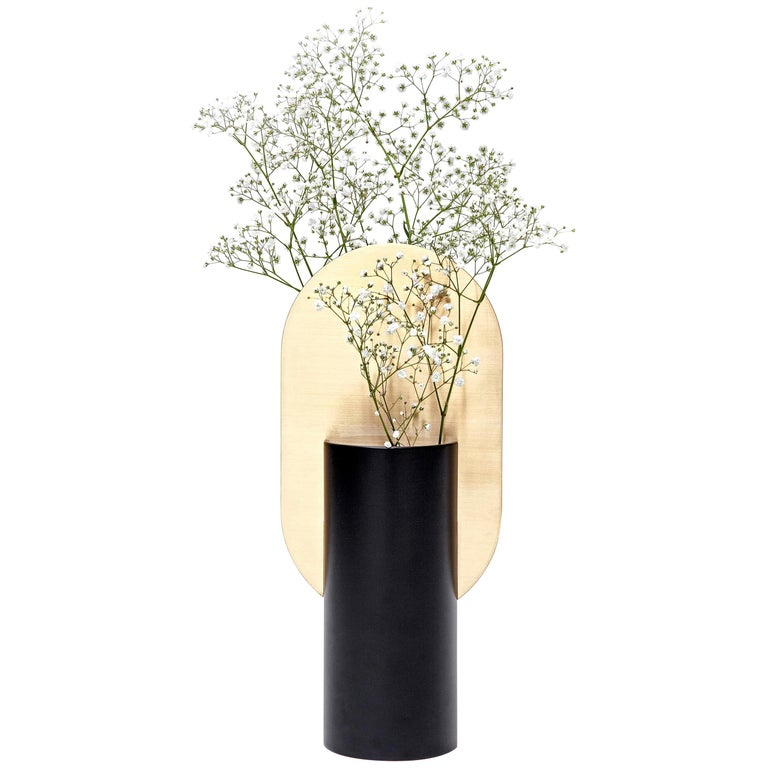 Modern Vase Genke CS1 by Noom in Brass and Steel For Sale
