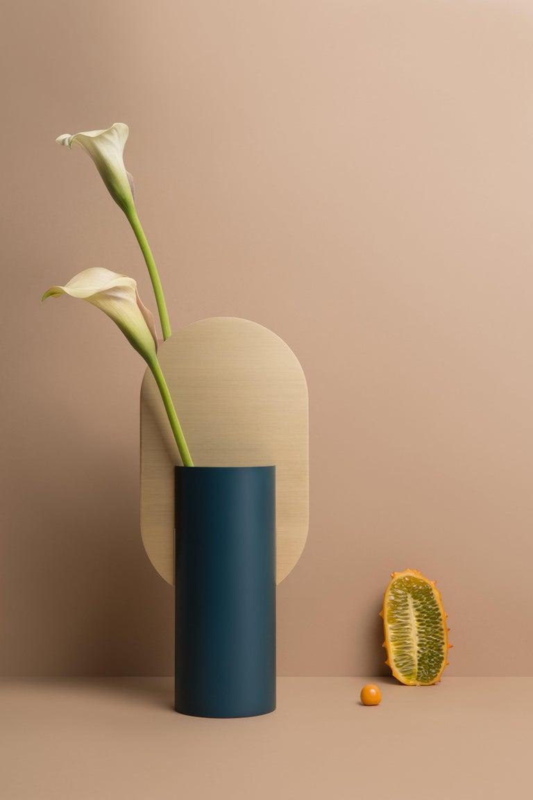 Brushed Modern Vase Genke CS3 by Noom in Brass and Steel For Sale