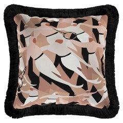 Modern Velvet Cushion, Acrobat Circus Man Luxury Pattern Pillow Black Fringes
