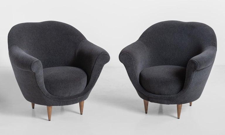 Modern velvet open armchair, circa 1950.  Handsome low form reupholstered in luxurious Maharam alpaca velvet.
