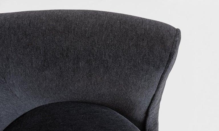 Mid-20th Century Modern Velvet Open Armchair, Italy circa 1950 For Sale