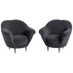 Modern Velvet Open Armchair, Italy circa 1950