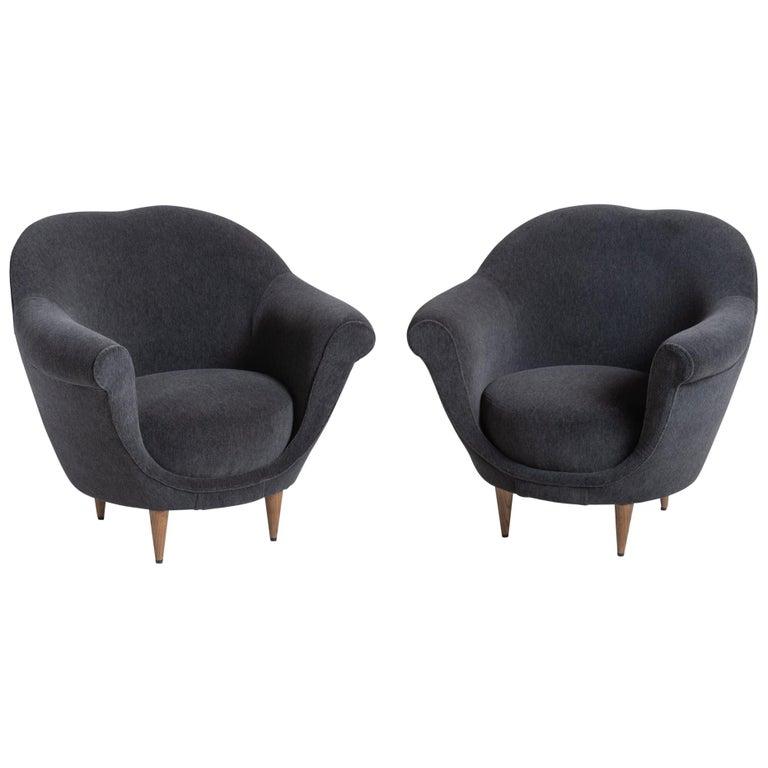Modern Velvet Open Armchair, Italy circa 1950 For Sale