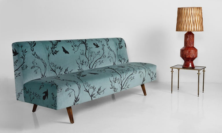 Italian Modern Velvet Sofa, Italy, circa 1950