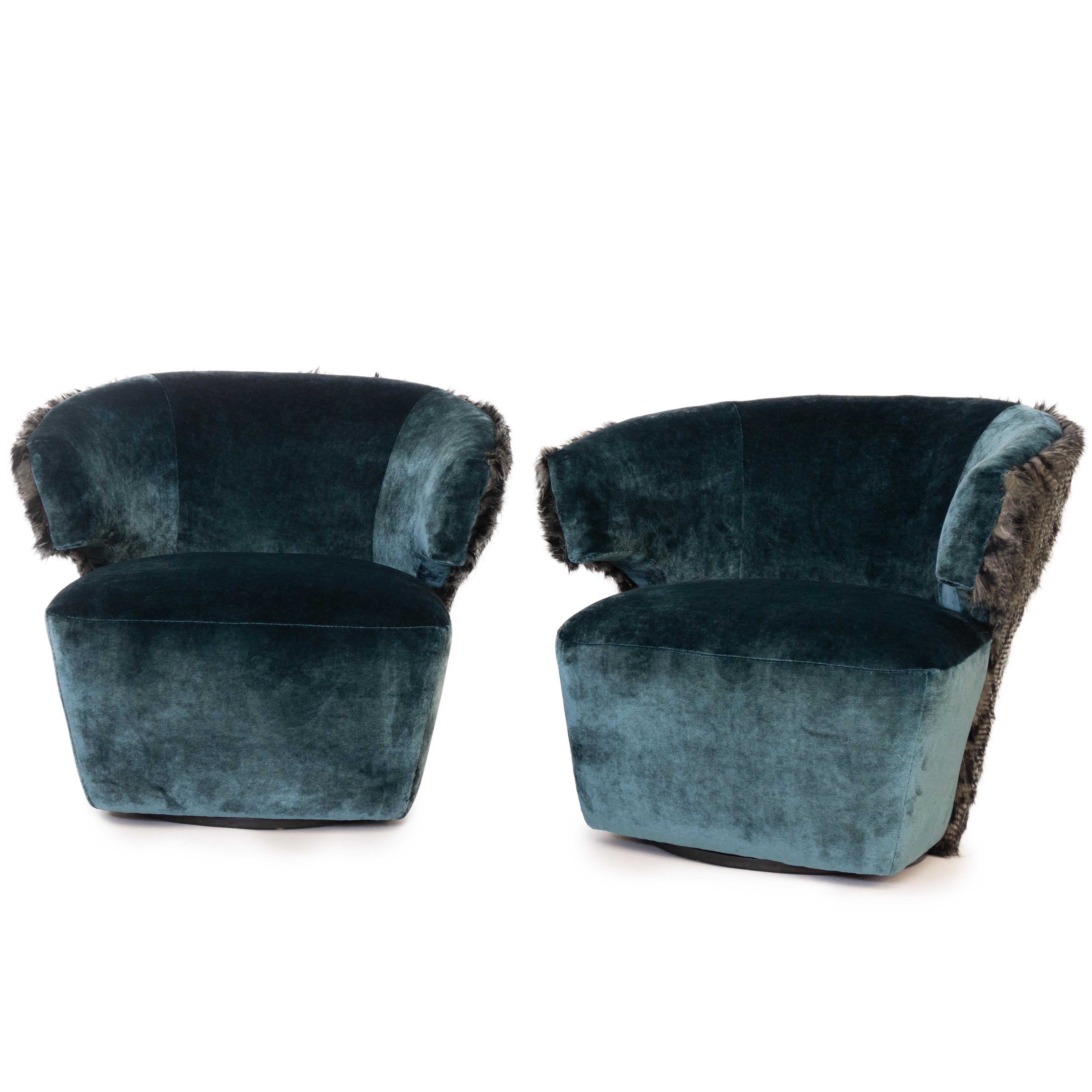 Astounding Modern Velvet Swivel Chairs With Faux Fur Pabps2019 Chair Design Images Pabps2019Com