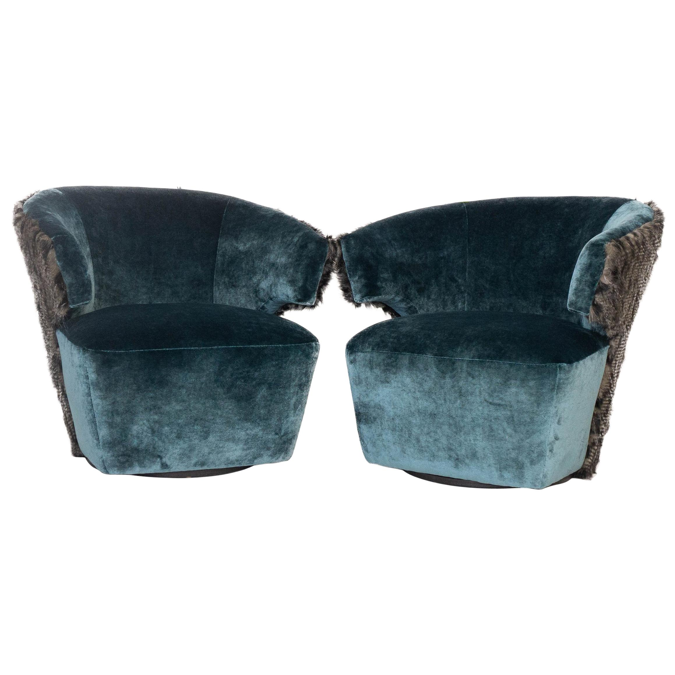 Stupendous Modern Velvet Swivel Chairs With Faux Fur Pabps2019 Chair Design Images Pabps2019Com