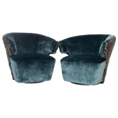 Modern Velvet Swivel Chairs with Faux Fur