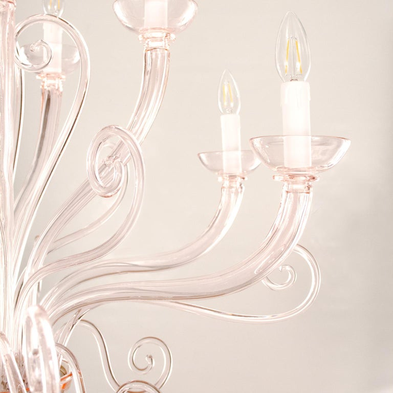 21st Century Venetian Chandelier 10 Arms Light Pink Murano Glass by Multiforme In New Condition For Sale In Trebaseleghe, IT