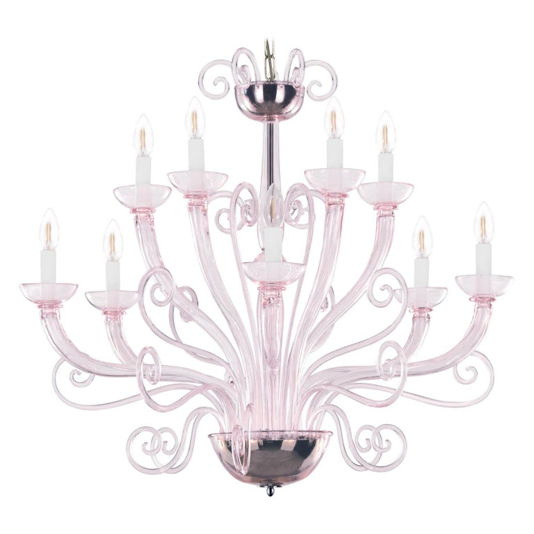21st Century Venetian Chandelier 10 Arms Light Pink Murano Glass by Multiforme For Sale
