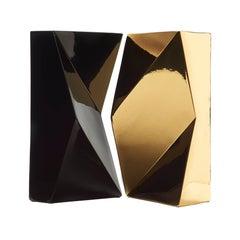 "Modern ""Verso"" Pair of Handmade Ceramic Vases in Black and Gold"