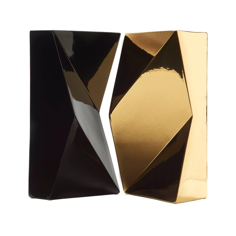 """Modern """"Verso"""" Pair of Handmade Ceramic Vases in Black and Gold For Sale"""