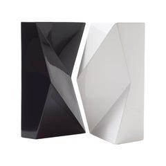 """Modern """"VERSO"""" Pair of Handmade Ceramic Vases in Black and White"""