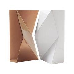 "Modern ""VERSO"" Pair of Handmade Ceramic Vases in Copper and White"