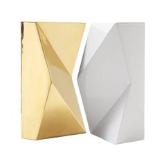 "Modern ""Verso"" Pair of Handmade Ceramic Vases in Gold and White"