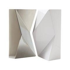 "Modern ""Verso"" Pair of Handmade Ceramic Vases in Platinum and White"