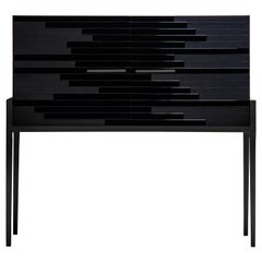 "Modern ""Vind"" Cabinet in Black Lacquer and Black Oak by Larissa Batista"