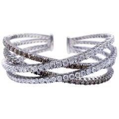 Modern Vintage 8.00 Carat White and Champagne Diamonds Bangle