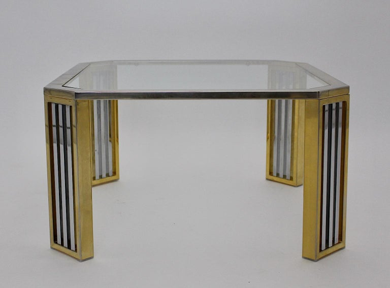 A modern vintage chromed metal and brass coffee table or sofa table, which was designed, Italy, 1970s.
