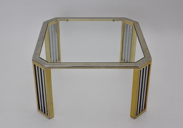 Hollywood Regency Modern Vintage Chromed Metal Brass Coffee Table Sofa Table, Italy, 1970s For Sale