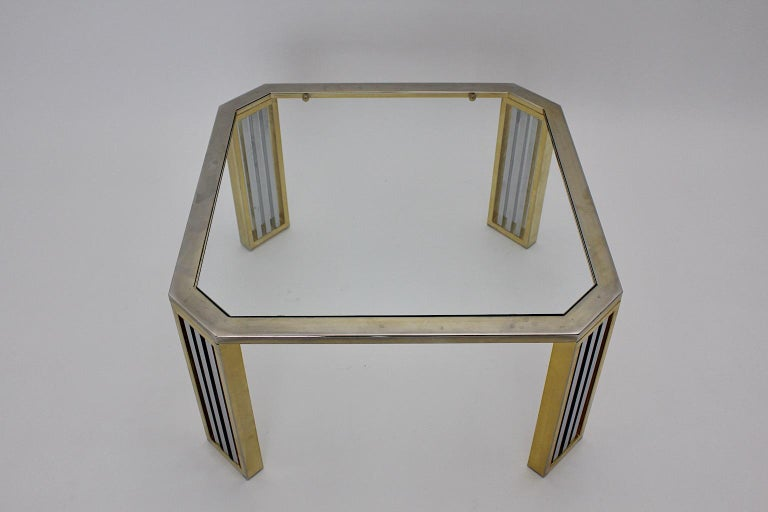 Italian Modern Vintage Chromed Metal Brass Coffee Table Sofa Table, Italy, 1970s For Sale
