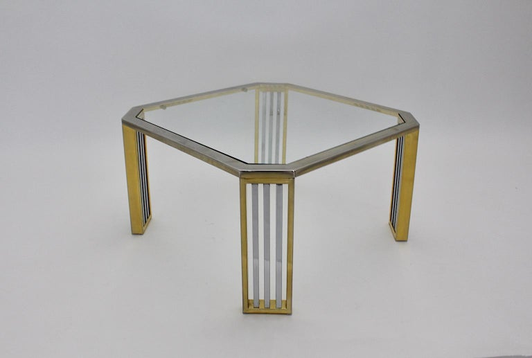 Modern Vintage Chromed Metal Brass Coffee Table Sofa Table, Italy, 1970s In Good Condition For Sale In Vienna, AT