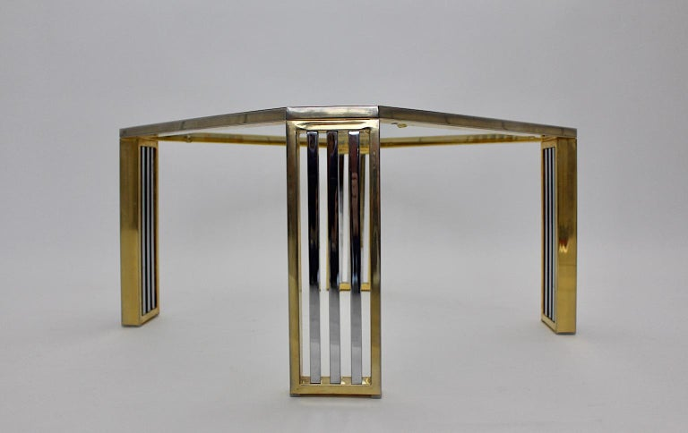 Late 20th Century Modern Vintage Chromed Metal Brass Coffee Table Sofa Table, Italy, 1970s For Sale