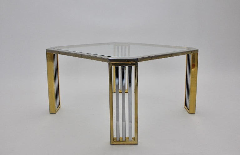 Modern Vintage Chromed Metal Brass Coffee Table Sofa Table, Italy, 1970s For Sale 1