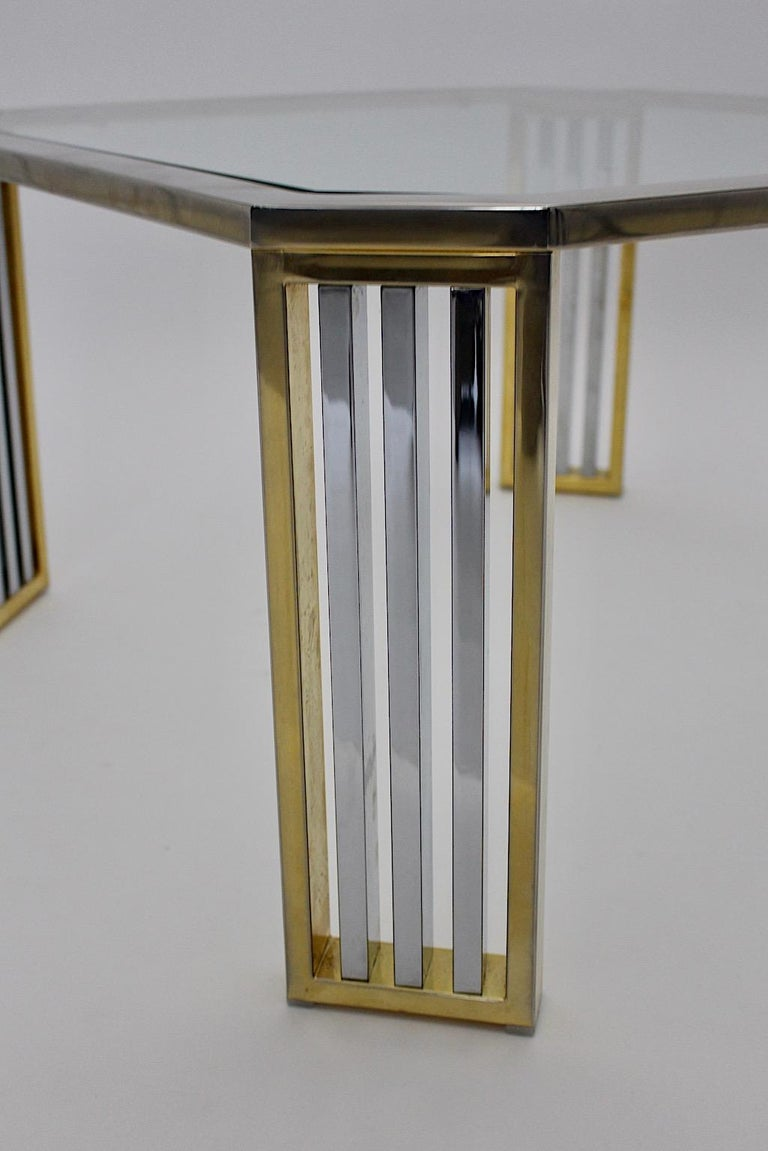 Modern Vintage Chromed Metal Brass Coffee Table Sofa Table, Italy, 1970s For Sale 2