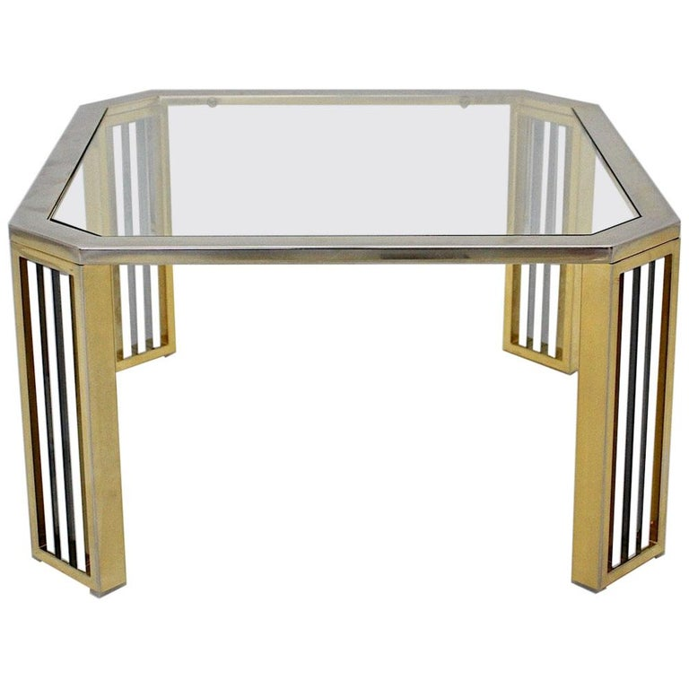 Modern Vintage Chromed Metal Brass Coffee Table Sofa Table, Italy, 1970s For Sale