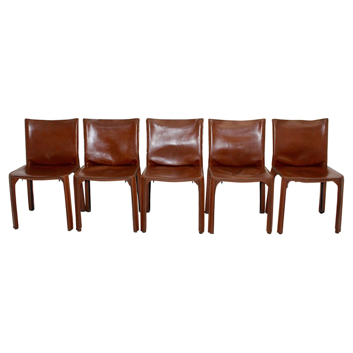Modern Vintage Five Cognac Brown Leather CAB Dining Chairs Mario Bellini, Italy