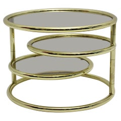 Modern Vintage Gold Metal Coffee Table Side Table with Smoked Glass 1970s Italy