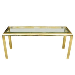 Modern Vintage Gold Tone and Glass Console