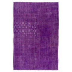 Modern & Vintage Handmade Turkish Area Rug. 7x10.5 Ft. Over-Dyed in Purple Color