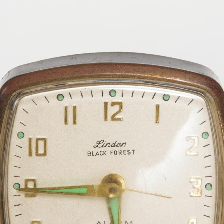 Mid-Century Modern Modernism by LINDEN Brass Wind Alarm Clock Black Forest West Germany For Sale