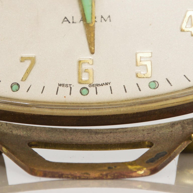 Modernism by LINDEN Brass Wind Alarm Clock Black Forest West Germany In Good Condition For Sale In National City, CA