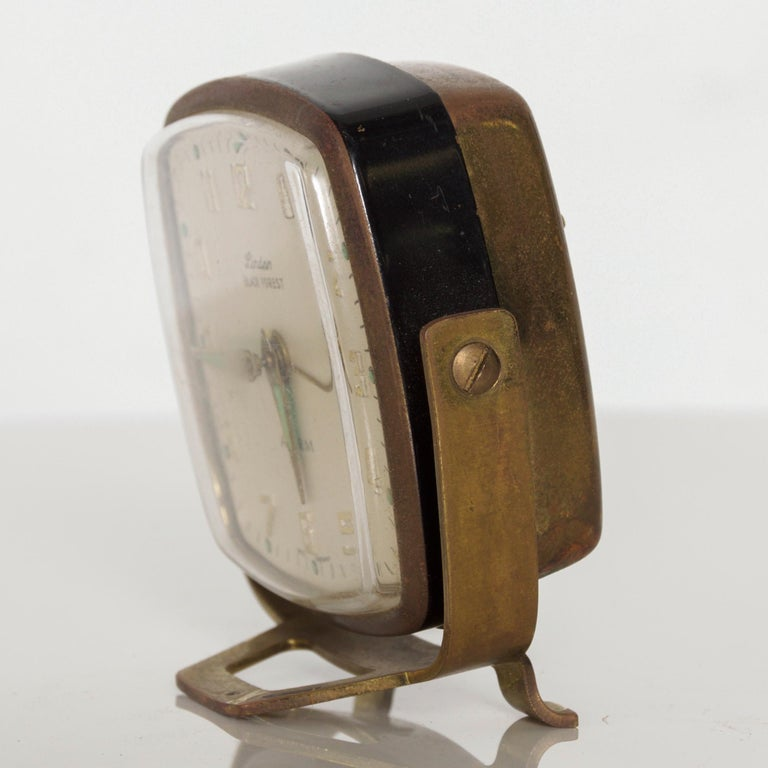 Mid-20th Century Modernism by LINDEN Brass Wind Alarm Clock Black Forest West Germany For Sale