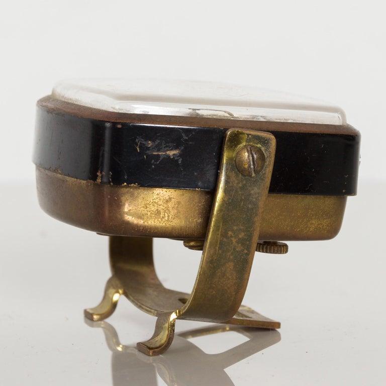 Modernism by LINDEN Brass Wind Alarm Clock Black Forest West Germany For Sale 1