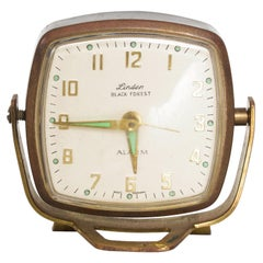 Modernism by LINDEN Brass Wind Alarm Clock Black Forest West Germany