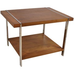 Modern Vintage Mid-Century Modern Walnut and Chrome Side Table by Lane Furniture