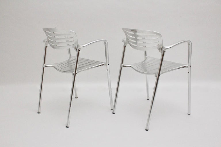 Modern Vintage Pair of Aluminum Chairs by Jorge Pensi, Spain 1986-1988 for Amat In Good Condition For Sale In Vienna, AT