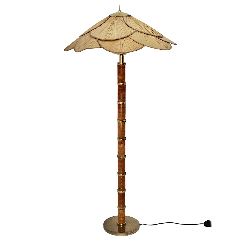 Modern Vintage Rattan Brass Floor Lamp, Italy, 1970s
