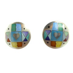 Modern Vintage Silver and Enamel Earrings by Jane Moore, London, 1994