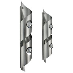Modern Vintage Stainless Steel Sconces in the Style Maria Pergay, France, 1980s