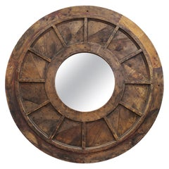 Modern Vintage Style Round Reclaimed Wood Wall Mirror