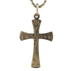 Modern Vintage Yellow Gold Cross, Hallmarked, London, 1997